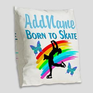BORN TO SKATE Burlap Throw Pillow