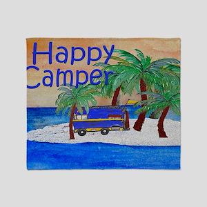 Happy Camper yard sign Throw Blanket