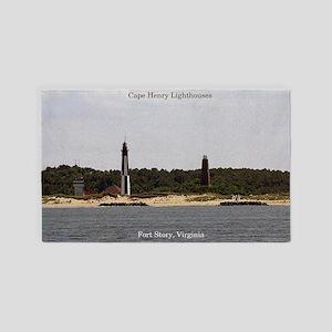 Cape Henry Lighthouses Area Rug