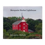 Marquette Harbor Lighthouse Throw Blanket