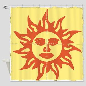 Orange Sunshine Tab Shower Curtain
