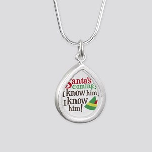 Santa I Know Him Silver Teardrop Necklace
