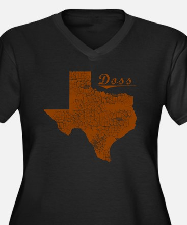 Doss, Texas  Women's Plus Size Dark V-Neck T-Shirt