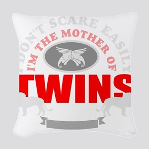 Brave mother of twins Woven Throw Pillow