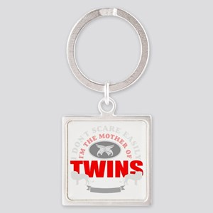 Brave mother of twins Square Keychain