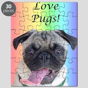 Cute I Love Pugs Rainbow Puzzle