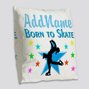 LIVE TO SKATE Burlap Throw Pillow
