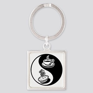 Pie and Coffee Yin Yang Square Keychain