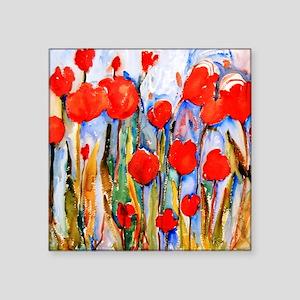 "Red Tulip Razzle Dazzle Bat Square Sticker 3"" x 3"""