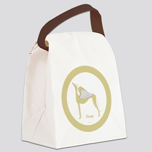 DEWEY ANGEL GREY ROUND ORNAMENT Canvas Lunch Bag