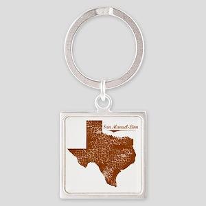 San Manuel-Linn, Texas. Vintage Square Keychain