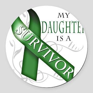 My Daughter is a Survivor (green) Round Car Magnet