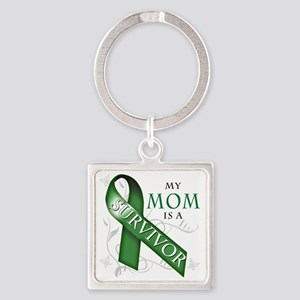 My Mom is a Survivor (green) Square Keychain
