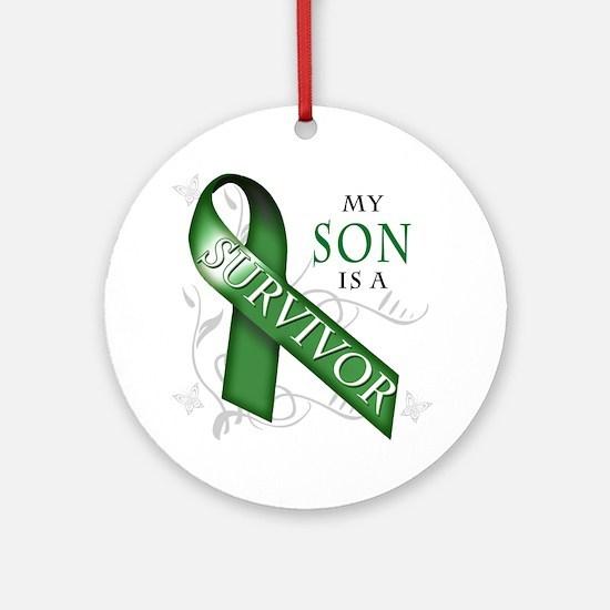 My Son is a Survivor (green) Round Ornament