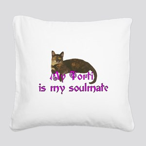 Tortie Love Square Canvas Pillow