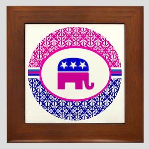 Pink and Blue Damask Republican Framed Tile