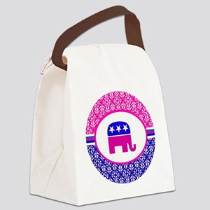 Pink and Blue Damask Republican Canvas Lunch Bag