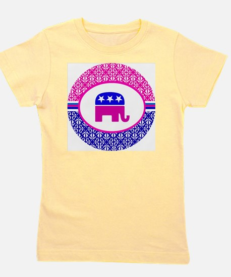 Pink and Blue Damask Republican Girl's Tee