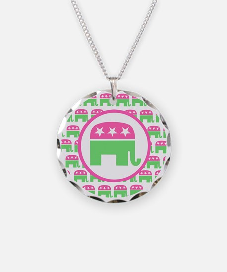 Pink and Green Republican Necklace