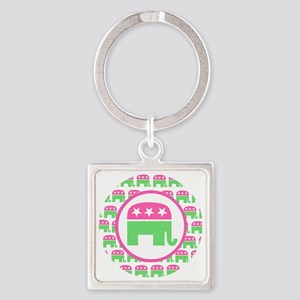 Pink and Green Republican Square Keychain