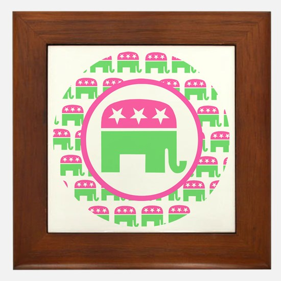 Pink and Green Republican Framed Tile
