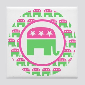 Pink and Green Republican Tile Coaster
