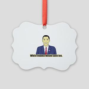 White Obama Picture Ornament