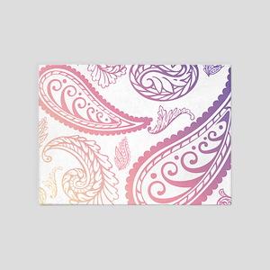 pinkpurplepaisleyking 5'x7'Area Rug