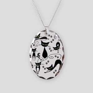 black cats Necklace Oval Charm