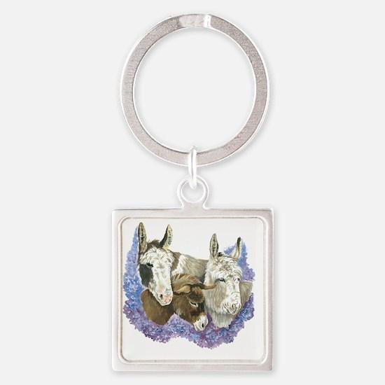 Donkeys Square Keychain