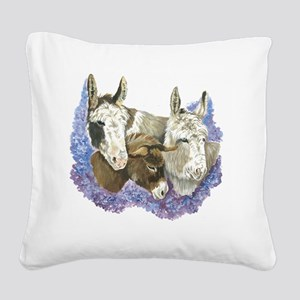 Donkeys Square Canvas Pillow