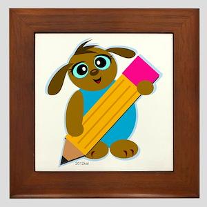 Cute Dog Holds a Pencil Framed Tile
