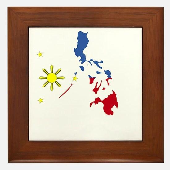 Pinoy Pride Map for dark garmets Framed Tile