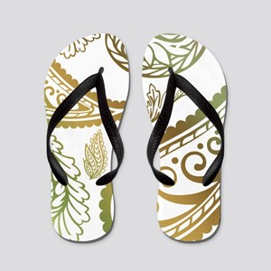 oliveburgundypaisleyqueen Flip Flops