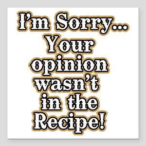 "Funny recipe apron or sh Square Car Magnet 3"" x 3"""