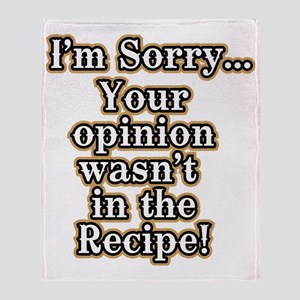 Funny recipe apron or shirt for the  Throw Blanket