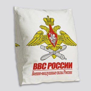 Russian Air Force Emblem Burlap Throw Pillow