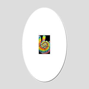 tie-dye-peace-hand-OV 20x12 Oval Wall Decal