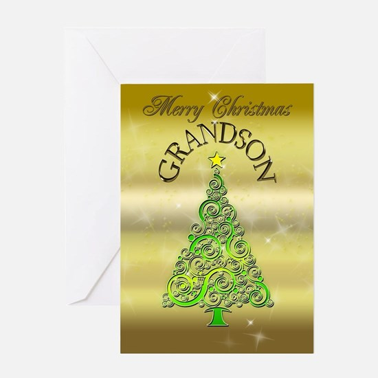For grandson, a gold effect Christmas card Greetin