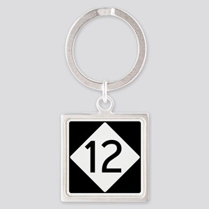 Route 12 Road Sign Square Keychain