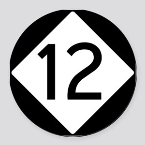 Route 12 Road Sign Round Car Magnet
