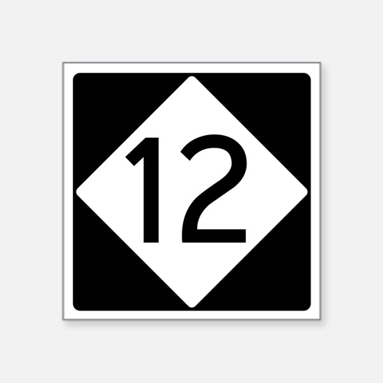 "Route 12 Road Sign Square Sticker 3"" x 3"""