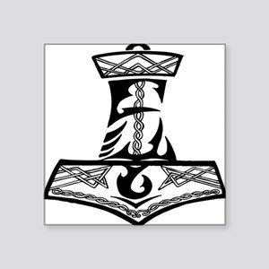 "Black Celtic Thors Hammer Square Sticker 3"" x 3"""