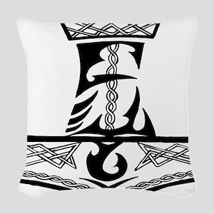 Black Celtic Thors Hammer Woven Throw Pillow