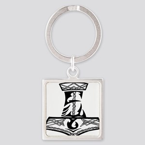 Black Celtic Thors Hammer Square Keychain