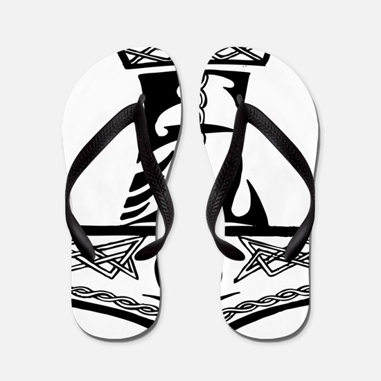 Black Celtic Thors Hammer Flip Flops