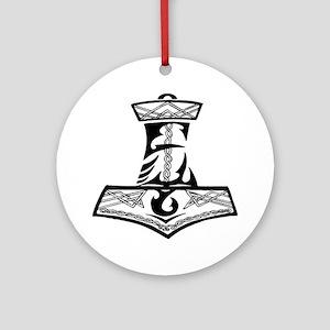 Black Celtic Thors Hammer Round Ornament