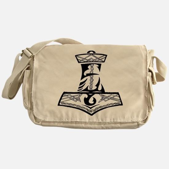 Black Celtic Thors Hammer Messenger Bag