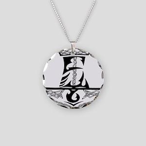 Black Celtic Thors Hammer Necklace Circle Charm