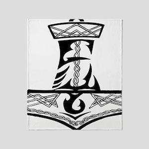 Black Celtic Thors Hammer Throw Blanket